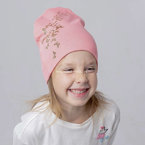 в-0196 Двухслойная  шапка с бабочками глиттер, пудра