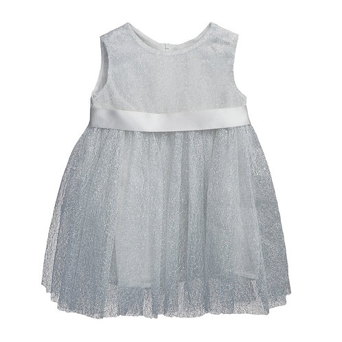 7015 Платье для девочки, серебро