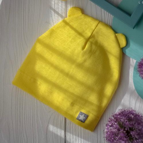ШЛ19-04054728  Шапка однослойная мишка со звездочка, желтый