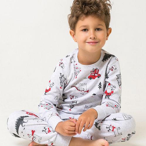 Пижама для мальчика К 1550/дед мороз и автомобили на меланже