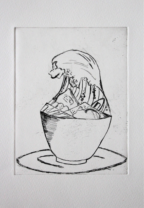 Wave in Teacup - Black and White