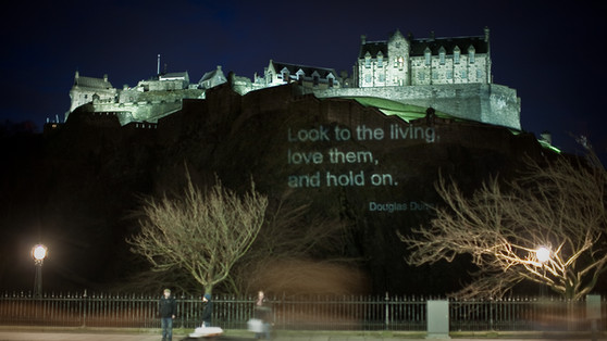 Poetry Projected on Edinburgh Castle - l