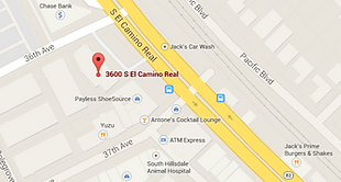 map showing 3600 S. El Camino Real San Mateo CA.
