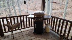 Small propane grill on Deck