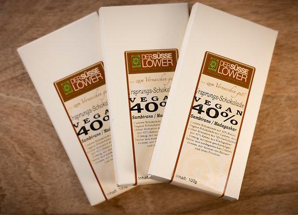 Ursprungs - Schokolade, Vegan 40 %  Sambirano/Madagaskar 100g
