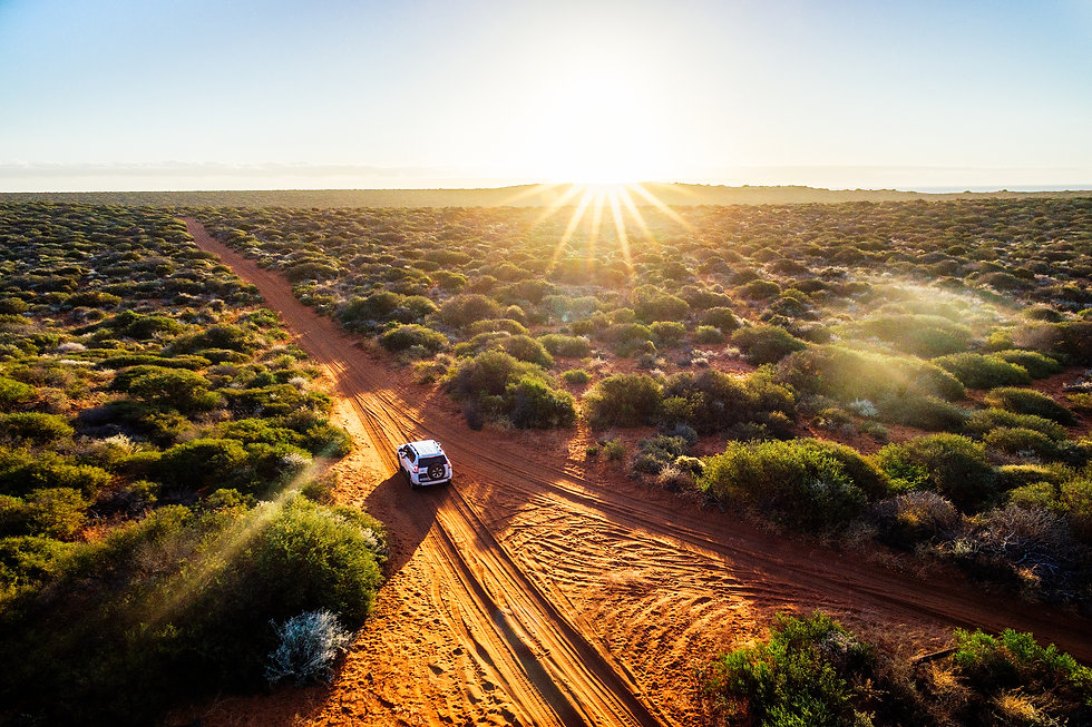 Australia, red sand unpaved road and 4x4