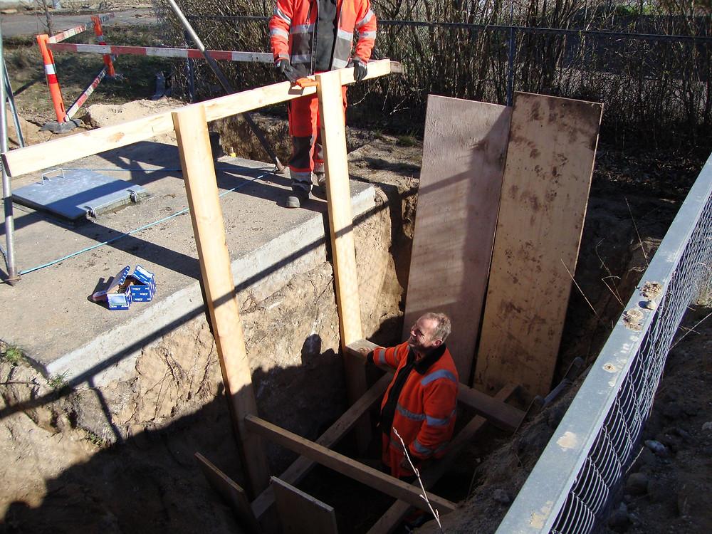 Udgravning til tilslutninger til ny borings platform