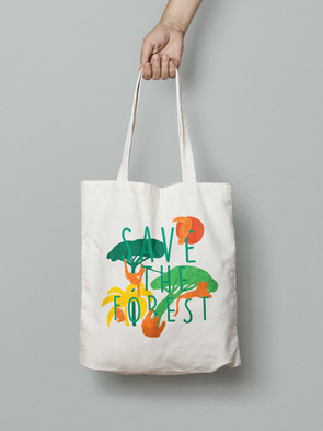 Save the Forest Canvas Tote Bag Design