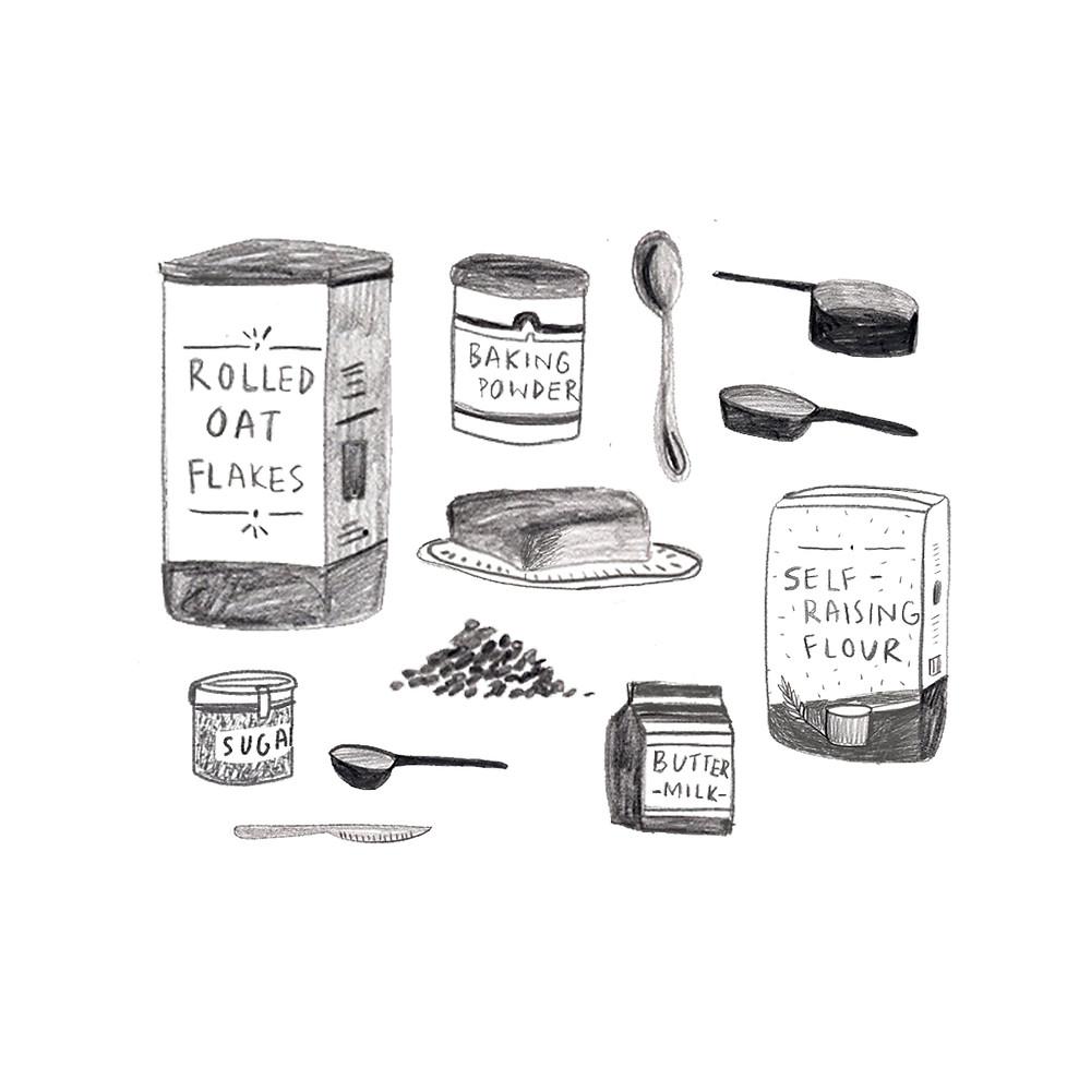 Ingredients for baking rusk.
