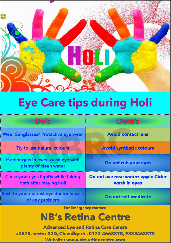 Eye Care Tips During Holi!! Our Eye need special care during holi, as these are the most common orga