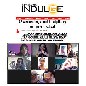 India's first multidisciplinary online art festival in 2021, the AF Weekender will cover the fine arts, urban art, storytelling, technology, heritage, and a lot more!