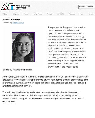Our Founder, Nivedita Poddar talks to Culture Wire about the trials of the past year and what 2021 in the arts might look like with the newly adapted hybrid digital model and the growing curiosity with blockchain technology