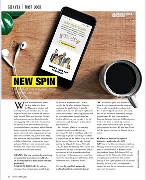Spot our featureby Grazia India in their 13th anniversary special cover this monthwhere our Founder, Nivedita Poddar talks about the journey of Art Fervour, some of our special endeavors so far and the future of the art world in the digital era.