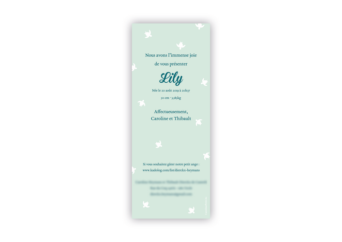 Annonce naissance Lily