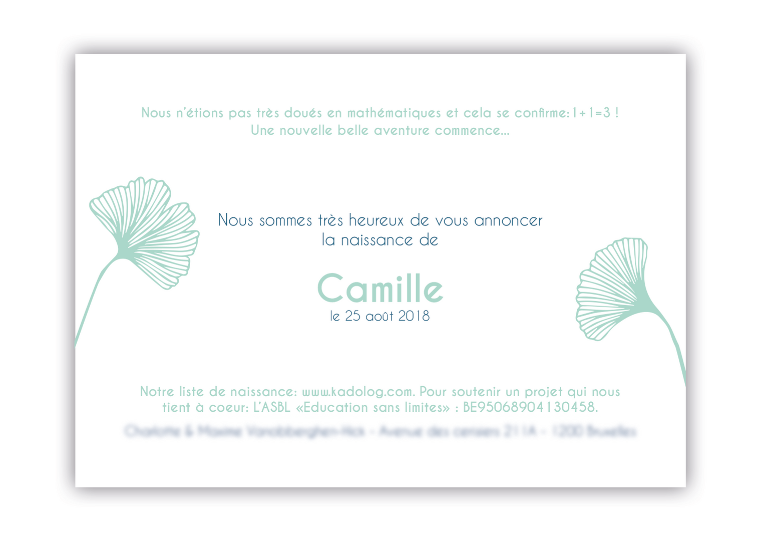 Annonce naissance Camille