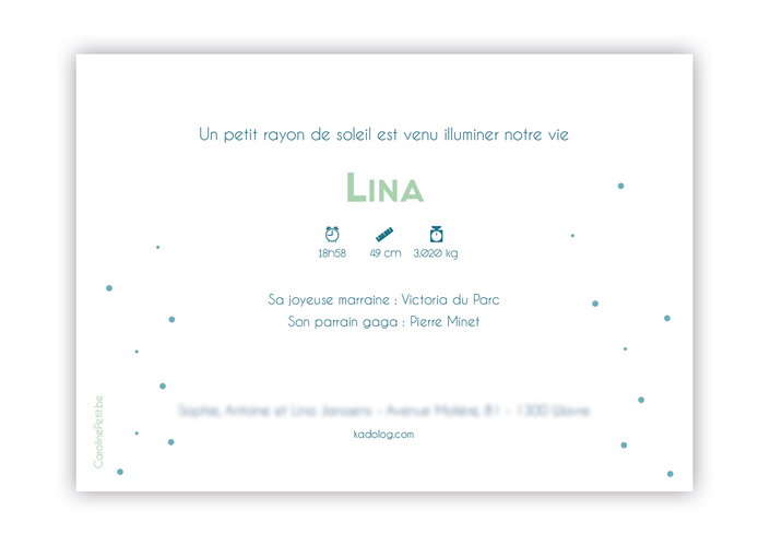 Annonce naissance Lina