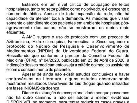 Associação Médica Cearense se manifesta diante da crise ocasionada pela pandemia de Covid-19