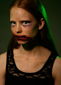 halloween makeup, cut mouth
