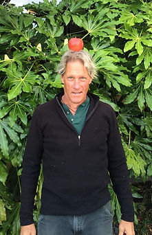 Gordon with an apple on his head
