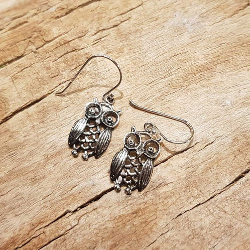 owl earrings silver zilveren uitjes oorbellen uilen