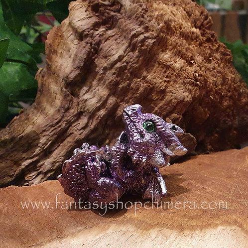 tiny dragon dragonling baby Purple little small kleine draak draakje beeldje figurine drakenbeeldje mini miniatuur