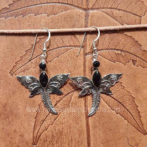 dragonfly butterfly onyx earrings oorbellen libelle vlinder zilver silver jewellery
