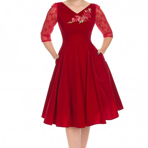 Velvet rose red dress