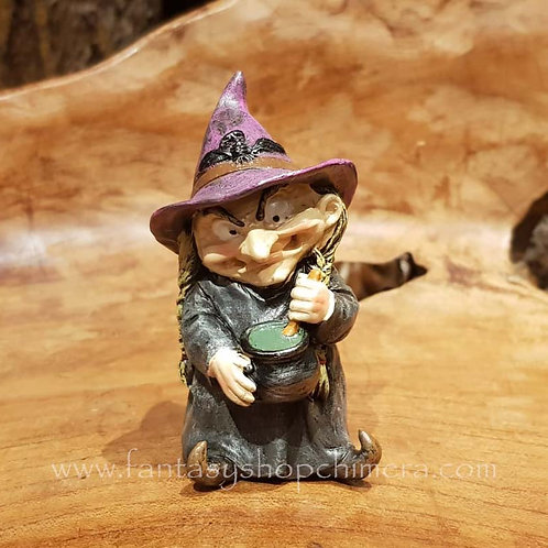 double double witch with cauldron figurine kleine heks met ketel beeldje