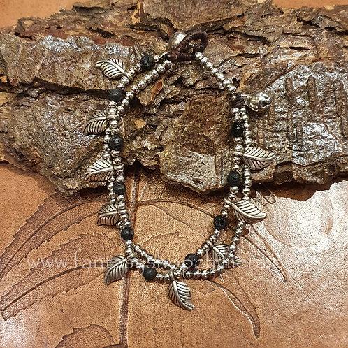 leaves and bells bracelet semi precious stones armband blaadjes halfedelsteen zilver