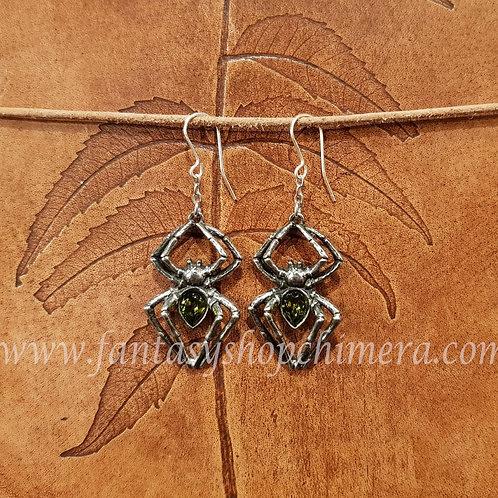 Emerald venom spider earrings gothic jewelry sieraden alchemy jewellery oorbellen spin spinnen tin pewter