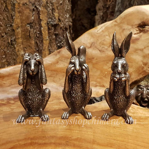 3 wise hares see no hear no speak no evil wijze hazen haas horen zien zwijgen wicca symbol