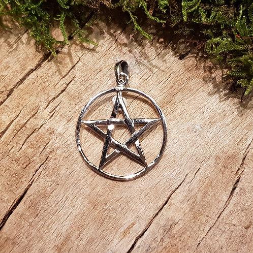 pentagram silver pendant wicca pagan mage zilveren hanger ster