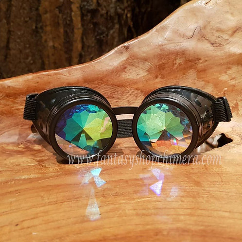 crystal prismatic googles caleidoscope kaleidoskoop effect steampunk LARP fantasy wear alternatieve kleding maskers mask