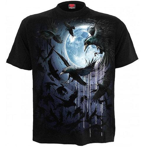 Crow moon t-shirt spiral alternative clothes alternatieve kleding kraai raaf