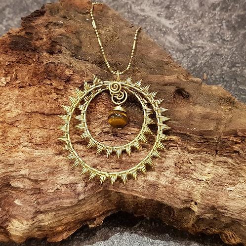 brass sun copper inner circle zon symbool ketting koper messing