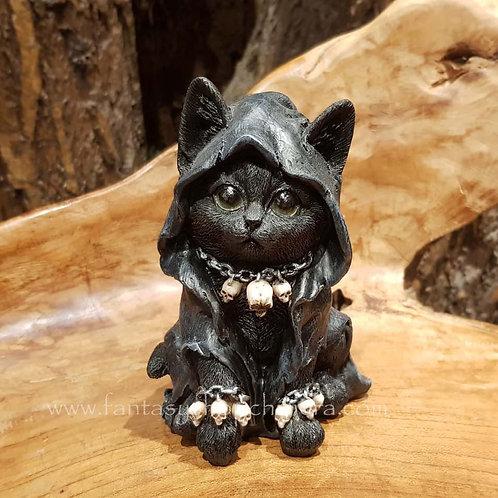 Shadow cat fogurine cape skulls black kitten zwarte poes kat beeldje fantasy art