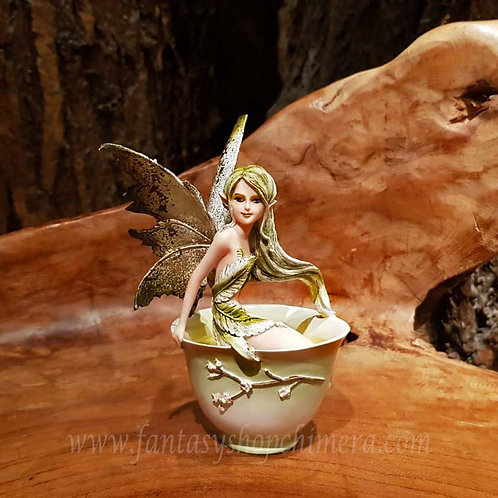 Green tea cup fairy amy brown groene thee elfje in theekopje thee cup Fairy site collectable