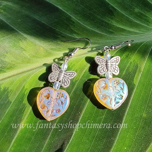 Crystal heart butterfly earring fantasy fashion fairy fairies vlinder hartje oorbellen liefde vriendschap