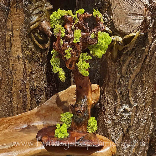 Altar Tree spirit forest wood carving houtsnijwerk boom ooak wicca healing crystals display standaard houder