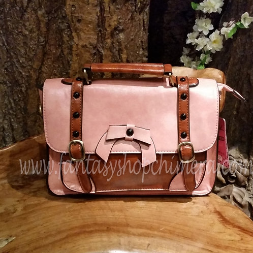 Retro Bow Pink Hand Bag