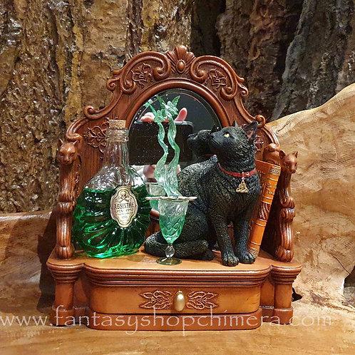 absinthe figurine lisa parker cat trinket cabinet beeldje zwarte kat spiegel doosje kastje elfje fairy