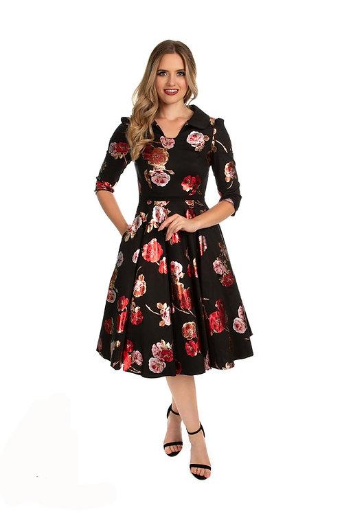 bella rose swing dress long sleeves 50's style jurk jaren vijftig stijl lange mouw petticoat