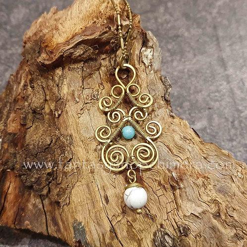 Fantasy Bohemian copper brass wire unakite necklace ketting koper messing sieraad boho style