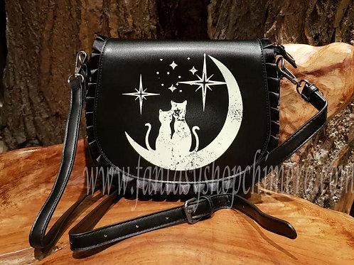 midnight cat moon bag damestas handtas poezen poes maan