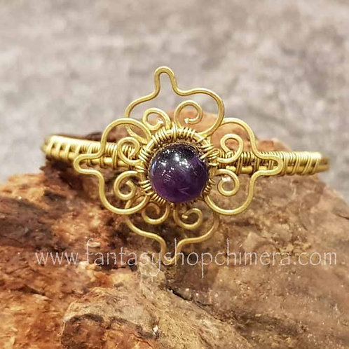 Amethyst flower brass bracelet handmade gemstones healing stones sieraden armband amethist koper