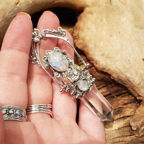 secret box poison rock crystal moonstone silver pendant zilveren hanger gif doosje bergkristal