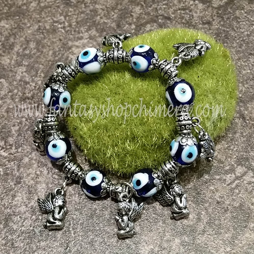 Evil eye and angels bracelet