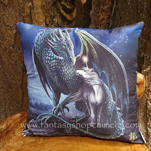 Protector of magic dragon unicorn lisa parker design cushion pillow kussentje eenhoorn draak afbeelding woondecoratie