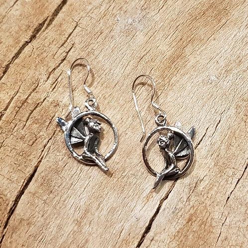 tinkelbel tinkerbel in a hoop earrings fairy silver zilveren elfen oorbellen