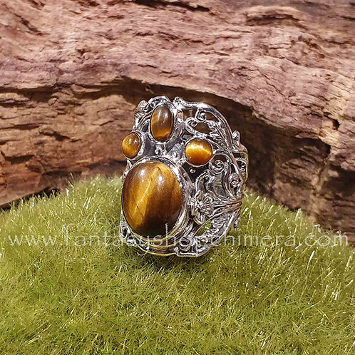 Tiger eye silver fantasy ring adjustable in size verstelbare groote zilveren ring met tijgeroog